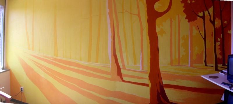 Wandschildering met bosgezicht