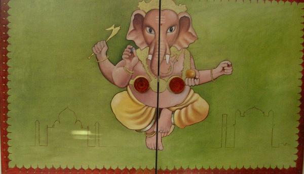 Deurschildering met Indiaas motief
